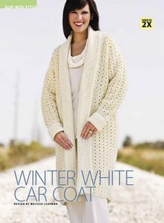 Winter White Car Coat By Melissa Leapman – Free Crochet Pattern – See www.crochet-world… For PDF Link – (crochet-world) See other ideas and pictures from the category menu…. Black Crochet Dress, Crochet Coat, Crochet Jacket, Crochet Cardigan, Love Crochet, Crochet Shawl, Crochet Clothes, Crochet Sweaters, Beautiful Crochet