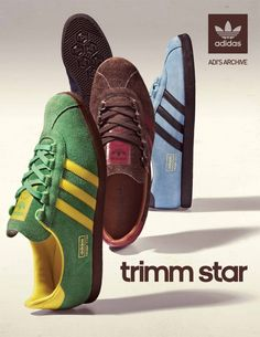 trimm stars - one of my favourites - Here we have a classic adidas poster Adidas Vintage, Adidas Retro, Adidas Originals, Sneaker Posters, Sergio Tacchini, Adidas Spezial, Football Casuals, Baskets, Adidas Fashion