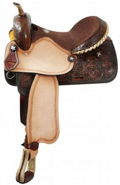 "Dark Horse Tack is proud to offer... 14"", 15"", 16"" Double T barrel style saddle with rough out fender and jockies. Saddle features silver laced rawhide cantle and raw hide braided horn. Saddle comes w"
