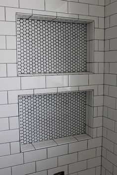 White subway tile, thin dark grout lines, and white penny tile in the nook. Would match with white penny tile floor. Bathroom Niche, Shower Niche, Master Bathroom, Master Shower, Washroom, Shower Tub, Bathroom Ideas, Redo Bathroom, Big Shower