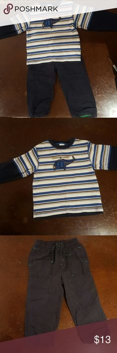 Gymboree LS Helicopter T-shirt & Pants size 3T Royal blue, navy blue, black and white stripes long sleeved t-shirt with embroidered helicopter - 100% cotton. Navy blue nylon pants lined with green jersey knit - Body 70% cotton / 30% nylon; lining 65% polyester / 35% cotton. No visible stains or damage.  Comes from a non-smoking home. Gymboree Matching Sets