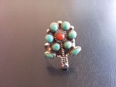 Sterling Silver 925 Vintage Ring Flower Daisy Turquoise Gemstone Size 5 3362
