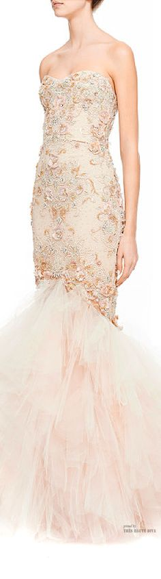 Marchesa Embroidered Strapless Mermaid Gown SS 2015