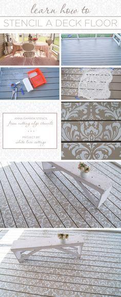Cutting Edge Stencils shares a DIY stenciled deck floor using the Anna Damask Stencil pattern. Stencil Rug, Stencil Decor, Damask Stencil, Stencil Painting, Floor Stencil, Floor Painting, Porch Flooring, Vinyl Flooring, Deck Patterns