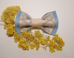 UNISEX bow tie Embroidered man bow tie Woman bow tie  Pearl blue pretied bow tie Groomsman bow tie Gift ideas for him Handmade FREE SHIPPING