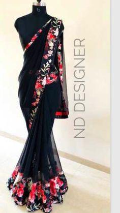 beautiful pure chiffon with satin border with running blouse Half Saree Designs, Saree Blouse Neck Designs, Trendy Sarees, Stylish Sarees, Fancy Sarees Party Wear, Kalamkari Dresses, Saree Models, Saree Trends, Saree Look