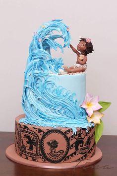 Beautiful Birthday Kids Cake, Disney Moana Cake and a Big Wave, Boy or Girl Birthday Cake - Pretty Cakes, Cute Cakes, Beautiful Cakes, Amazing Cakes, Fancy Cakes, Dessert Party, Elegante Desserts, Bolo Moana, Pinterest Cake