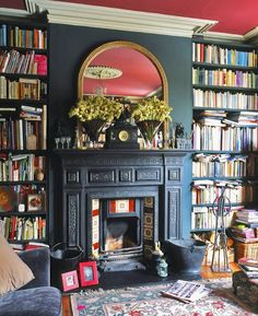 Library Room design ideas and photos to inspire your next home decor project or remodel. Check out Library Room photo galleries full of ideas for your home, apartment or office. Eclectic Living Room, Eclectic Decor, My Living Room, Living Room Decor, Eclectic Design, Eclectic Style, Library Fireplace, Fireplace Mantels, Fireplace Remodel