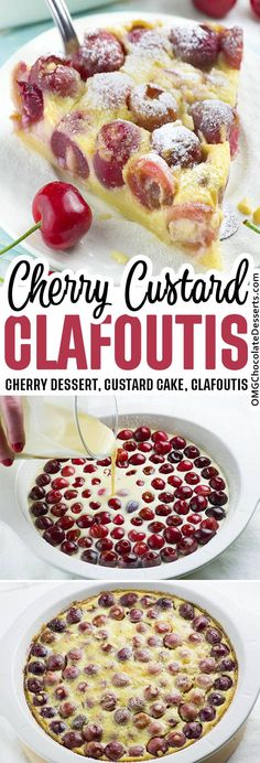 Cherry Clafoutis - With a fancy French name and its elegant look, this delicious custard pie-style dessert made with fresh, sweet, juicy cherries will impress your guests! #custard #pie #cherry French Desserts, Easy Desserts, Delicious Desserts, French Sweets, French Food, Sweet Cherry Recipes, Recipes With Fresh Cherries, Fresh Cherry Cake Recipe From Scratch, Desserts With Cherries