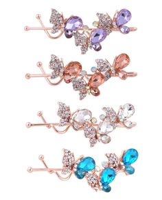 Set of 4 Rhinestone Hair Clips for Women Crystal Butterfly Hair Barrettes Hair Pins for Girls (Set 2) >>> Be sure to check out this awesome product.