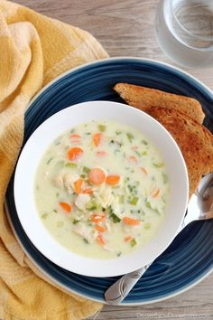 This Chicken Orzo Soup is full of carrots, green onions, celery, and tender chunks of chicken, in a creamy broth with orzo pasta throughout. From DessertNowDinnerLater.com