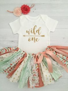 Coral/Peach Mint and Gold Wild One Birthday by MeadowsMarvels