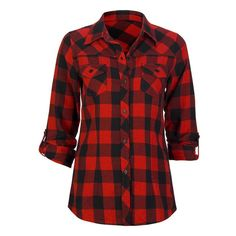 FULL TILT Buffalo Plaid Womens Flannel Shirt | ❤ liked on Polyvore featuring tops, shirts, buffalo plaid shirt, button front shirt, long sleeve tops, red flannel shirt and flannel top