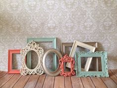 Vintage Style PICTURE FRAMES - sea foam and coral -  shabby chic - Wedding - Glass and Backing