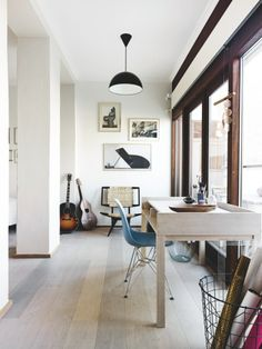 white washed surfaces and edited accents