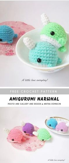 Amigurumi Narwhal with Free Pattern - This Pumpkin Bread Recipe is extra tender, thanks to a secret ingredient nobody will guess. It's the best pumpkin bread you'd ever want. The Best Pumpkin. Crochet Amigurumi Free Patterns, Crochet Animal Patterns, Stuffed Animal Patterns, Crochet Dolls, Easy Crochet Animals, Bear Patterns, Crocheted Toys, Doll Patterns, Crochet Kawaii