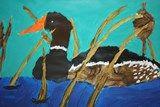 """Saving wetlands"" painting by Josh, grade 12, Alliance High School #art4literacy #environment #wetland"