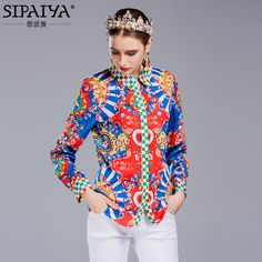 a7ac3cc7f47469 New Arrival Women's Blouses 2017 Spring Ladies Turn-down Collar Geometric  Floral Print Casual Plus Size Shirt Elegants Lady
