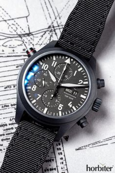 IWC pilot watch Double Chronograph Top Gun Ceratanium ™ - From ceramic to Ceratanium ™ - Design for Life Modern Watches, Stylish Watches, Vintage Watches, Cool Watches, Dream Watches, Elegant Watches, Best Watches For Men, Luxury Watches For Men, Watch For Men