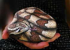 Hand painted snake stone by Ernestina Gallina