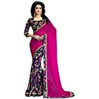 4fe68cbd7 Women s Chiffon Saree with Blouse Piece Chiffon Saree