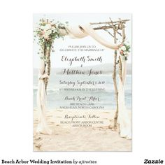 Beach Arbor Wedding Invitation #wedding #invitations #weddinginvitations