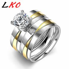 LKO New Party Weddig Rings Set  Men Women Titanium Stainless Steel Metal Round Brand Design Hot Sale Fashion Jewelry  TGR045-A