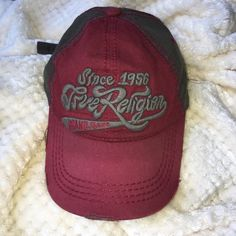 588b62a14fdb8 Burgundy and Grey True Religion Accessories Hats