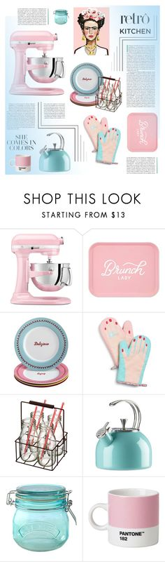 """Retro Kitchen: Pink & Blue"" by cara-mia-mon-cher ❤ liked on Polyvore featuring interior, interiors, interior design, home, home decor, interior decorating, KitchenAid, Cake Boss, Celebrate Shop and Artland"