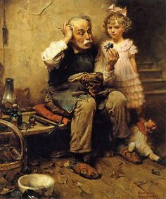 1921... Cobbler Studying Doll's Shoe - Norman Rockwell
