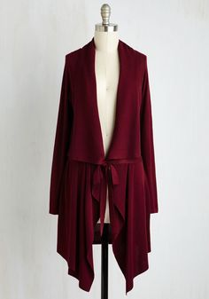 $55 Swishin' and Hopin' Cardigan in Merlot. In your search for a cardigan to fulfill your greatest layering dreams, this burgundy sweater meets your expectations - and beyond! #red #modcloth