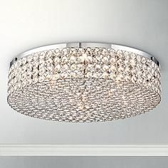 "Close To Ceiling Lights Adorable Possini Euro Viviette 20"" Wide Crystal Drum Pendant Light  Euro Design Inspiration"