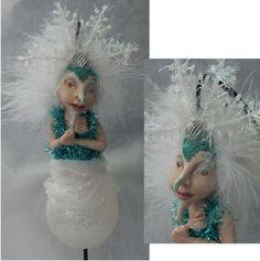 Christmas Mrs. Frost OOAK Fairy Ornament Sculpture Art Doll Fantasy Fairies