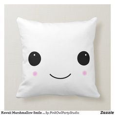 Shop Kawaii Marshmallow Smile Pillow created by PinkOwlPartyStudio. Food Pillows, Cute Pillows, Throw Pillows, Accent Pillows, Lion Brand Wool Ease, Kawaii Gifts, Kawaii Art, White Elephant Gifts, Marshmallow