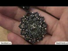 ▶ Beaded earring: beaded bezel earrings with Swarovski cabochon and seed beads | Beaded Jewelry - YouTube