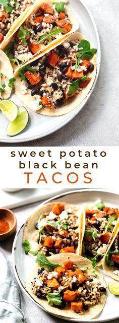 Chipotle Sweet Potato and Black Bean Tacos (Gluten-Free Vegetarian) – recipes. Carnitas, Barbacoa, Healthy Taco Recipes, Healthy Tacos, Beef Recipes, Vegan Recipes, Healthy Meals, Authentic Mexican Recipes, Mexican Food Recipes