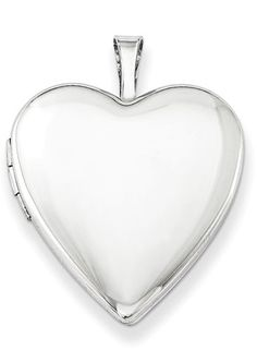 Polished and Plain Heart Locket Necklace, Sterling Silver | applesofgold.com