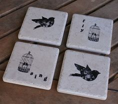 Ceramic Bird and Birdcage Sing Fly Coasters or Decorative Tiles