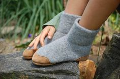 Children Slippers Eco Friendly Wool & Leather kids by WoolyBaby, $42.00