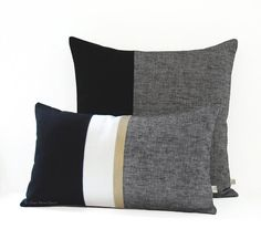 Black Chambray Decorative Pillow Cover Set of by JillianReneDecor