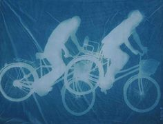 'Bicyclists' Zhang Dali uses a photo process invented over 150 years ago. The artist creates photograms or cyanotypes by brushing large pieces of cotton canvas with a mixture of chemicals.