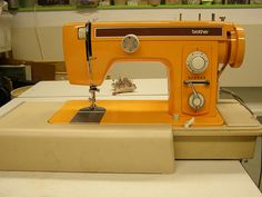 1976 Orange Brother sewing machine. Christmas gift from David.I still have it & I love it.