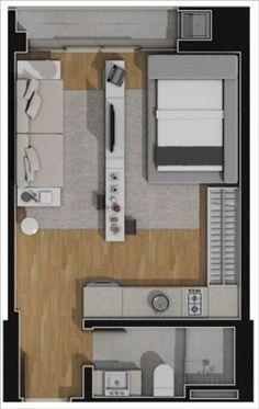 apartamentos planta 32m2,1 quarto