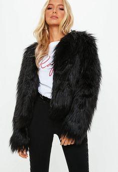 9e5f064b5 Black Shaggy Faux Fur Coat Black Faux Fur Jacket, Faux Coat, Faux Fur Vests