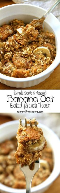 Baked French Toast Banana Oat Baked French Toast -- a delicious single serve vegan breakfast that's packed with fibre and plant-based.Banana Oat Baked French Toast -- a delicious single serve vegan breakfast that's packed with fibre and plant-based. Vegan Foods, Vegan Dishes, Vegan Recipes, Cooking Recipes, Fruit Recipes, Easy Recipes, Diet Recipes, Vegan Ideas, Bread Recipes