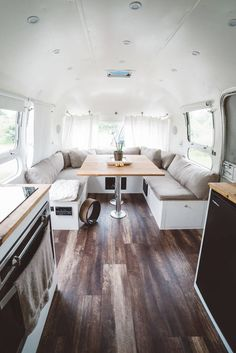 Airstream Renovation Reveal Before and After Airstream Basecamp, Airstream Bambi, Airstream Living, Airstream Campers, Airstream Remodel, Airstream Renovation, Airstream Interior, Vintage Airstream, Remodeled Campers
