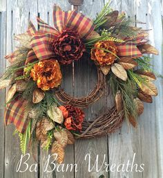 Fall Wreath Autumn Wreath Halloween Wreath Fall by BaBamWreaths