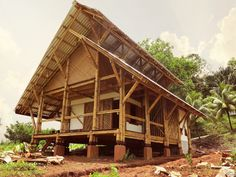 We are a non profit organisation focussing on the improvement of social housing by the the use of the local and natural material bamboo. Bamboo House Design, Tropical House Design, Tropical Houses, Bamboo Bamboo, Bamboo Trellis, Bamboo Building, Bamboo Structure, Bamboo Construction, Bamboo Architecture