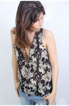 Top touché soie zippé Skull - Urban Dressing - Featuring by Colette... (Nice)