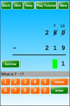 iPad App- for learning how to subtract with borrowing @Renee Peterson Peterson Peterson Peterson Peterson Shoults